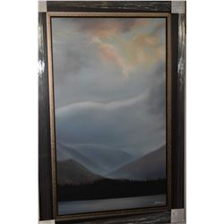 """Framed giclee print titled """"Vermillion Lakes' by artist Dean McLeod, overall dimensions 50"""" X 30"""""""
