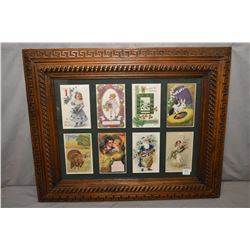 Framed antique greeting cards including New Years, Valentine, St. Patrick's Day, Easter, Thanksgivin