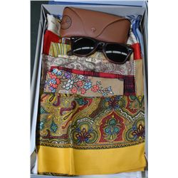 Ten Liberty of London silk designer scarves and a pair of Ray Ban sunglasses with case