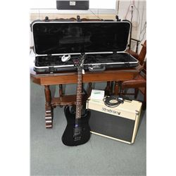 1987 Charvel Model II electric guitar with accessories in a hard case and a Black Star HT5 guitar am