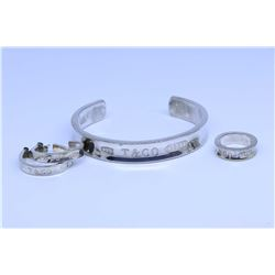 Tiffany & Co. marked bangle, earrings and ring