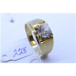 Gent's 14kt yellow gold solitaire ring set with synthetic diamond