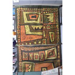 "Large geometric Batik canvas 80"" X 176"""