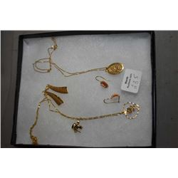 Selection of ladies yellow gold jewellery including three pairs of earrings and two 14kt yellow gold