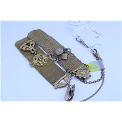 Pair of ornate mesh vest pocket fob chains in excellent condition, all original with signed watch bo