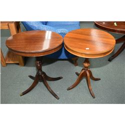 Two similar style Regency center pedestal side tables