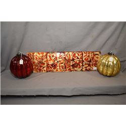 """Sheet of hand-worked art glass in red and gold, 22"""" X 6"""" and a pair of purportedly Victorian """"Witche"""