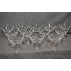 "Twelve Waterford ""Lismore"" crystal sherbet/low champagne glasses"
