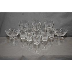 """Selection of Waterford """"Lismore"""" crystal including three claret glasses, eight aperitif and two sher"""