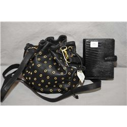 Small black leather CC Skye designer purse and a leather filofax
