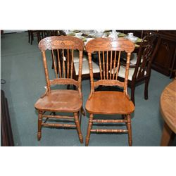 Six  pressed back chairs with turned spindles