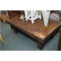 Heavy handcrafted rustic style coffee table with tenon joint stretchers