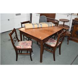 Mid 20th century walnut dining table and single fold over leaf and four insert leafs plus four dinin