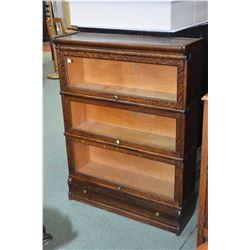 Quarter cut oak Macey three section stacking bookcase plus drawer base