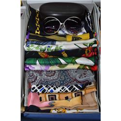 Fifteen silk scarves, various designers and a pair of Michael Kors sunglasses with case