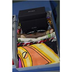 Fifteen designer silk scarves and a pair of Dolce & Gabbana sunglasses with case and original box