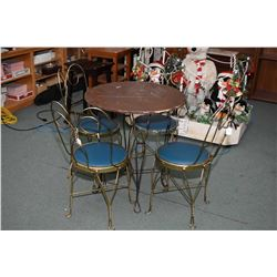 Five piece ice-cream parlour set including four chairs and a table
