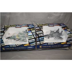 """Two Franklin Mint 1:48th scale die cast """"Mig 29"""" fighter jets including on Soviet and one German, mi"""