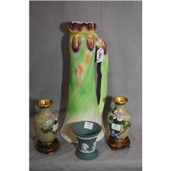 Royal Winton Iris pattern handled ewer, a pair of cloisonné vases and a small Jasperware by Wedgwood