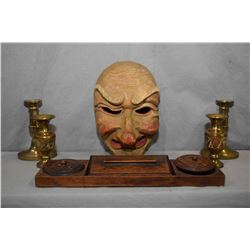 Tray lot of collectibles including carved Venetian carved wooden mask, oak desk set and candlesticks