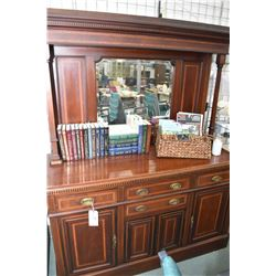 Antique sideboard with inlaid banding, multiple doors and drawers in base, tall backboard with decor