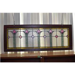 "Antique tulip motif leaded glass panel 20"" X 51"""