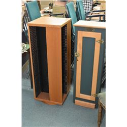 """Teak four sided rotating 42"""" DVD stand and a Duck Unlimited five shelf CD storage cabinet"""