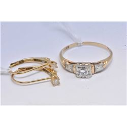 Antique 14kt-18kt micro diamond engagement ring and a pair of 14kt yellow gold and diamond lever bac