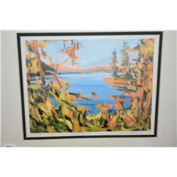 Five framed prints including YMCA and Sunshine Bay by Crane Thomas etc,