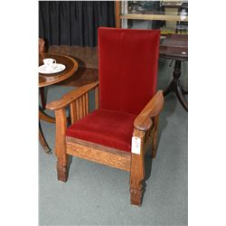 Antique oak converted Morris rocker to parlour chair with rigid back and velvet upholstery