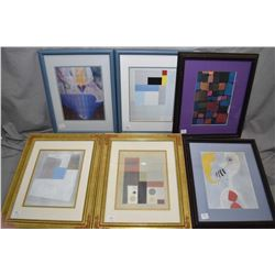 Six framed prints with assorted themes