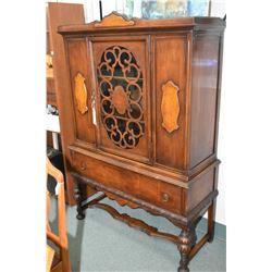 Refractory style walnut singled door china cabinet