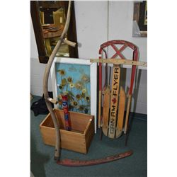 Selection of primitive collectibles including wooden apple box, a scythe, vintage window converted t