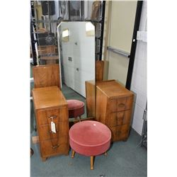 Antique walnut drop vanity with cheval style mirror plus a non-matching stool and a single bed headb