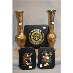 """Two middle eastern painted brass baluster vases 16"""" in height and three Mayan enamelled brass plaque"""
