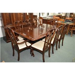 Large semi-contemporary antique style, top quality style dining table with two large skirted leaves