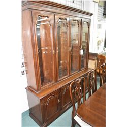 Large chest on chest illuminated display cabinet with adjustable glass shelves to match lot 309