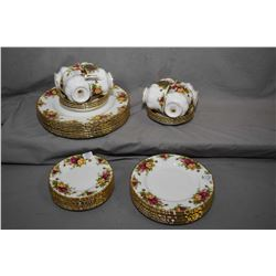 """Selection of Royal Albert """"Old Country Roses"""" china including settings for eight of dinner plates, s"""