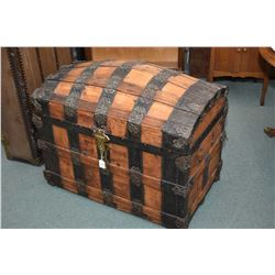 Exquisite antique oak and metal bound dome top trunk