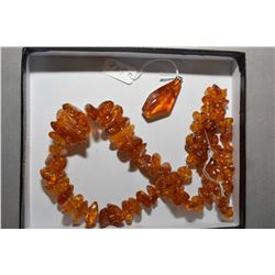 """Vintage 26"""" Amber necklace and an amber pendant"""