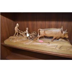 Large selection of collectibles including carved treenware farm scene, selection of sadirons, wall m