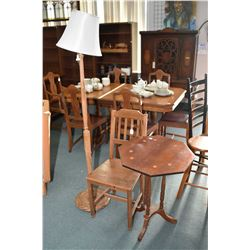 Center pedestal tilt top table, a vintage side chair and a turned wood pole lamp