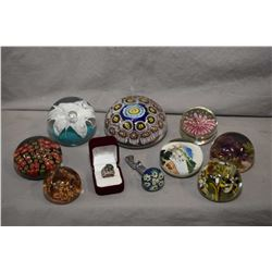 Selection of eight vintage glass paperweights including milliefore plus a millefore silver ring and