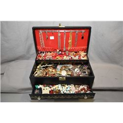 Jewellery box filled with vintage and collectible costume jewellery including bracelets, neck chains