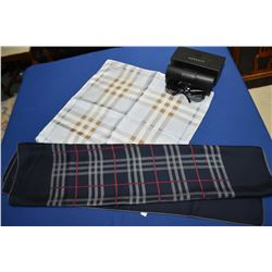 Two Burberry of London silk scarves and a pair of Versace sunglasses with case and original case