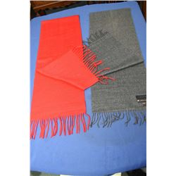Amicale 85% cashmere and 15% mink scarf and a red cashmere scarf