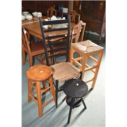 Selection of small furniture including ladder back ,rush seated chair, two small stools, including o