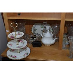"""Shelf lot of collectibles including three tier Royal Albert """"American Beauty"""" cake stand. Royal Albe"""