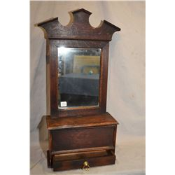 Antique wooden mirrored wall box with flip up lid and single drawer