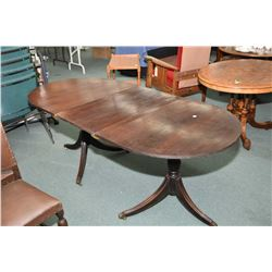 Unusual antique mahogany dining table comprising of two individual center pedestal tilt top table se